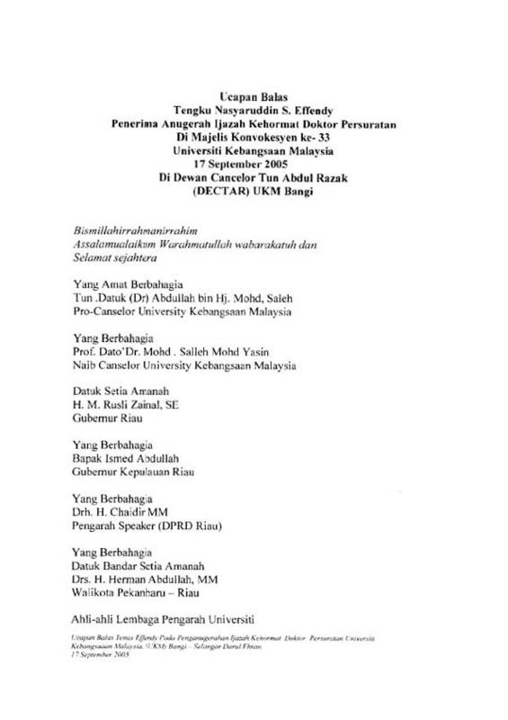 Ucapan Balas Penerima Anugerah Kehormat Doktor Persuratan Konvokesyen ke-33 UKM